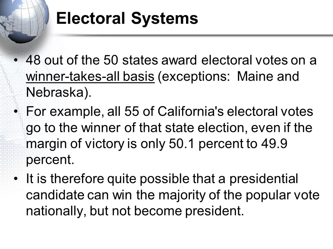 Electoral Systems 48 out of the 50 states award electoral votes on a winner-takes-all basis (exceptions: Maine and Nebraska).