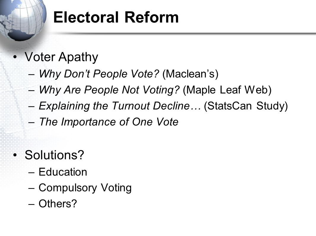 Electoral Reform Voter Apathy Solutions