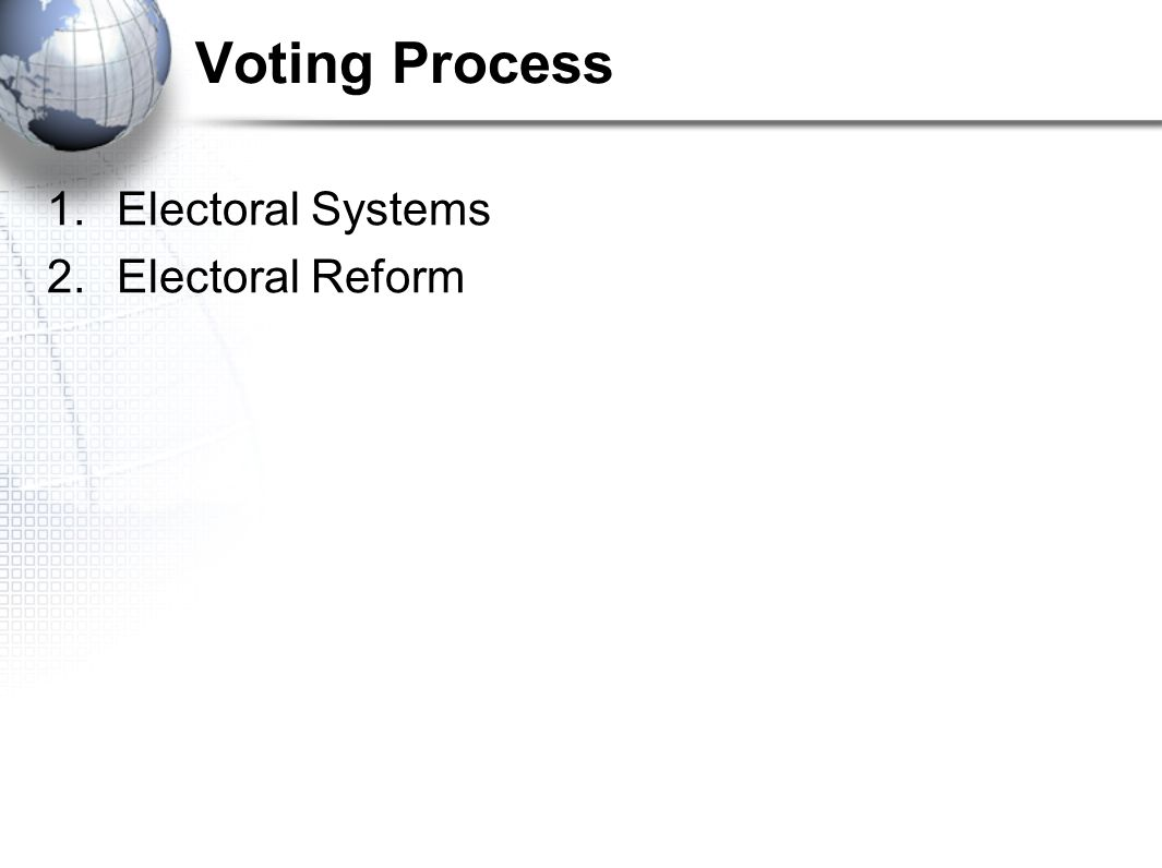 Voting Process Electoral Systems Electoral Reform