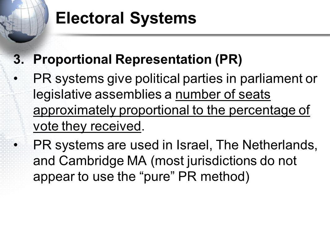 Electoral Systems 3. Proportional Representation (PR)