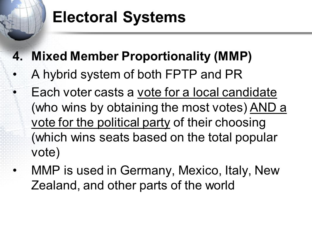 Electoral Systems Mixed Member Proportionality (MMP)