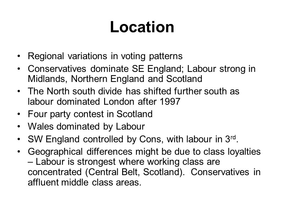 Location Regional variations in voting patterns