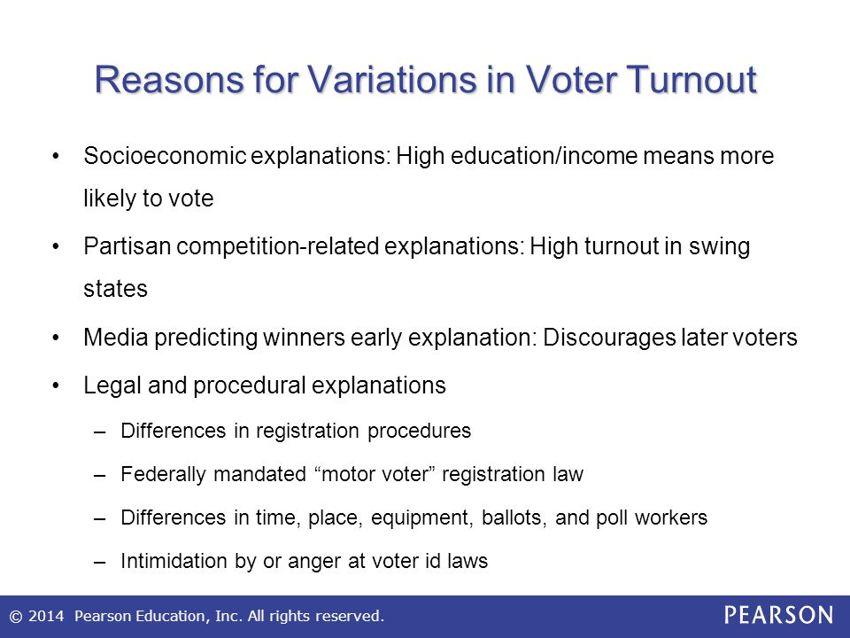 Reasons for Variations in Voter Turnout