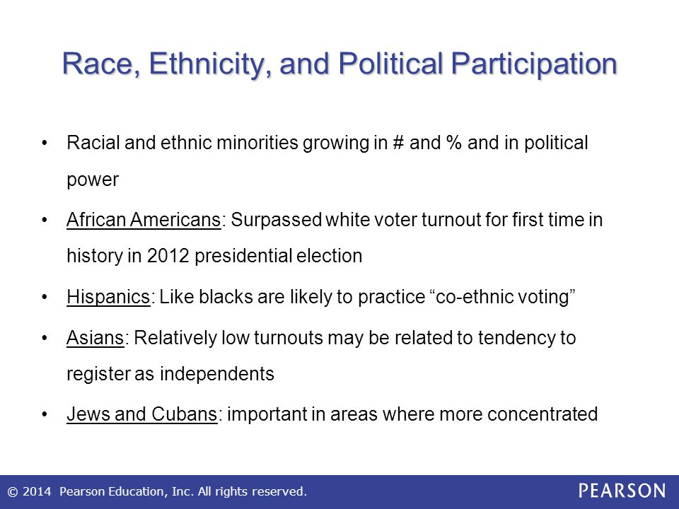 Race, Ethnicity, and Political Participation