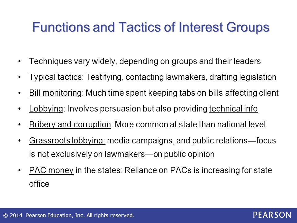 Functions and Tactics of Interest Groups