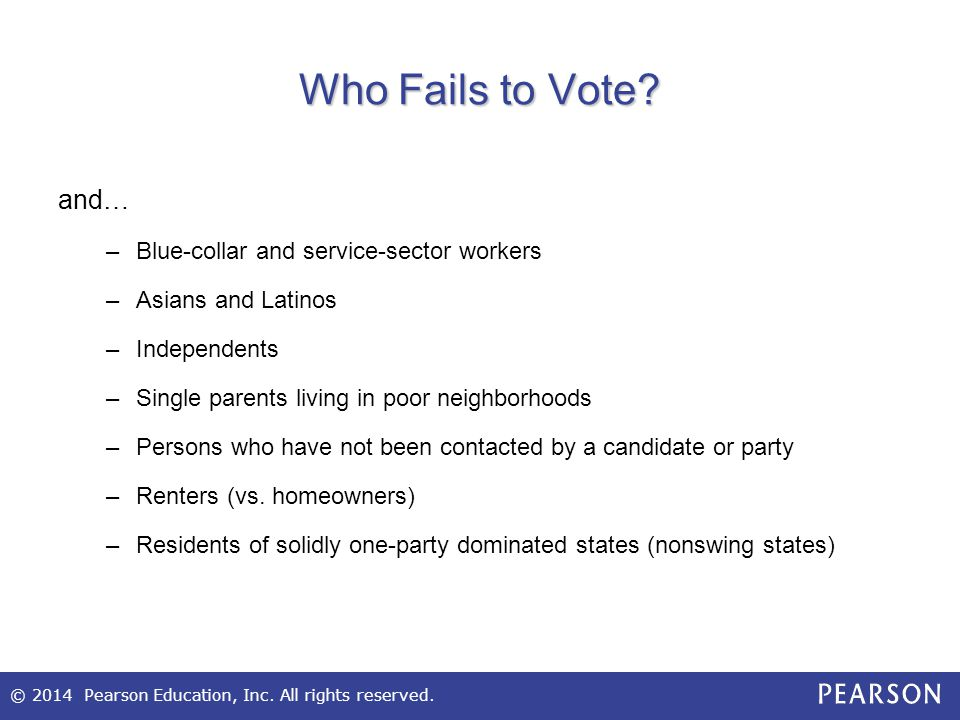 Who Fails to Vote and… Blue-collar and service-sector workers