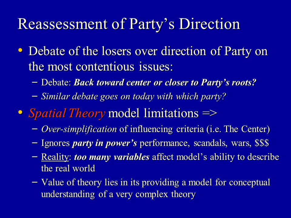 Reassessment of Party's Direction