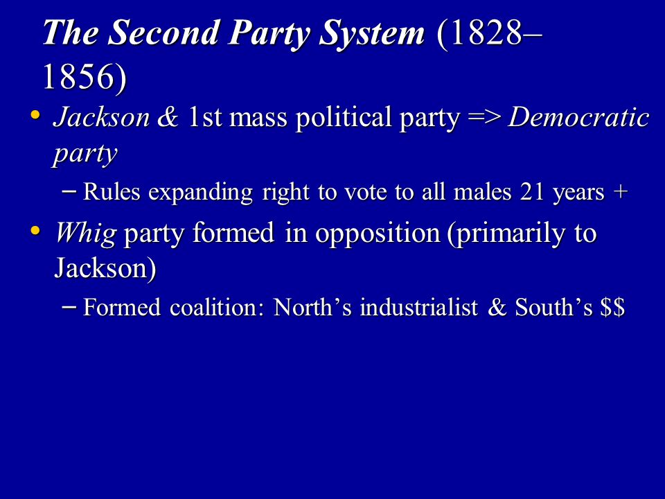 The Second Party System (1828–1856)