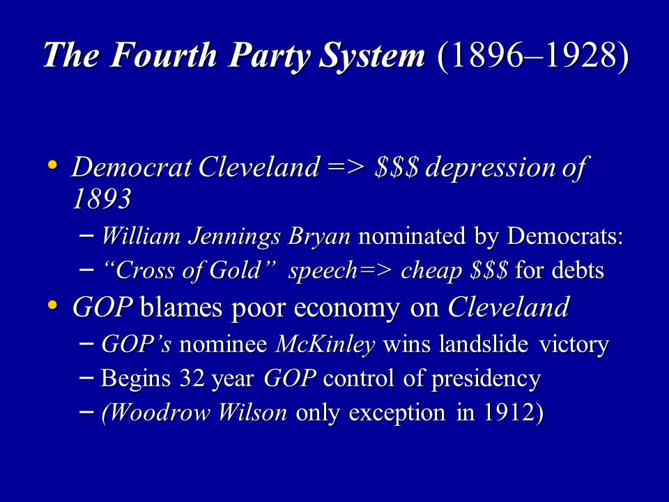 The Fourth Party System (1896–1928)