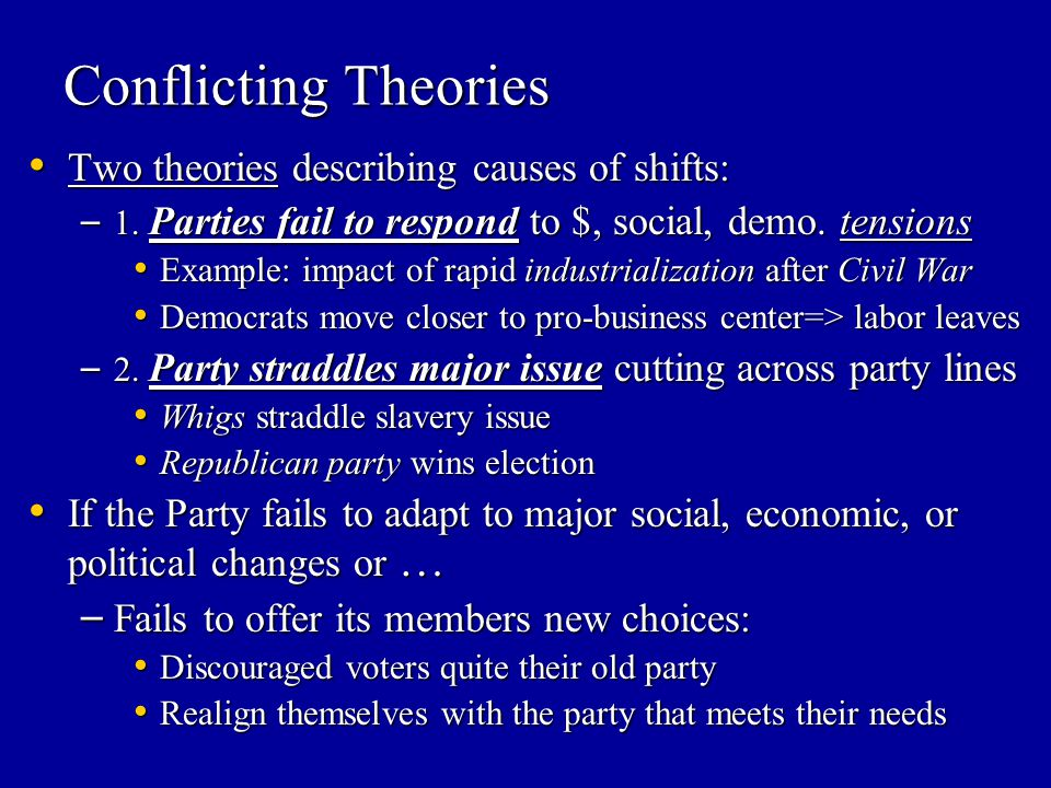 Conflicting Theories Two theories describing causes of shifts: