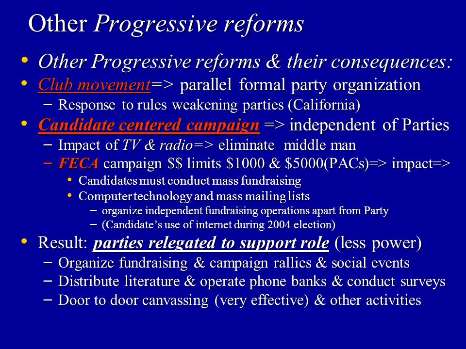 Other Progressive reforms