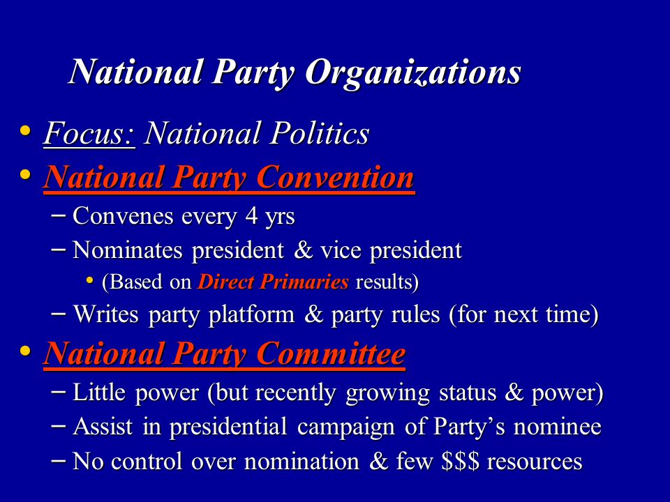 National Party Organizations