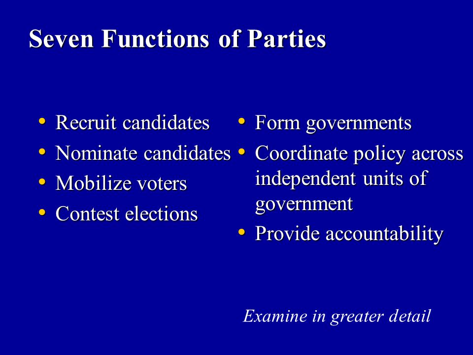 Seven Functions of Parties