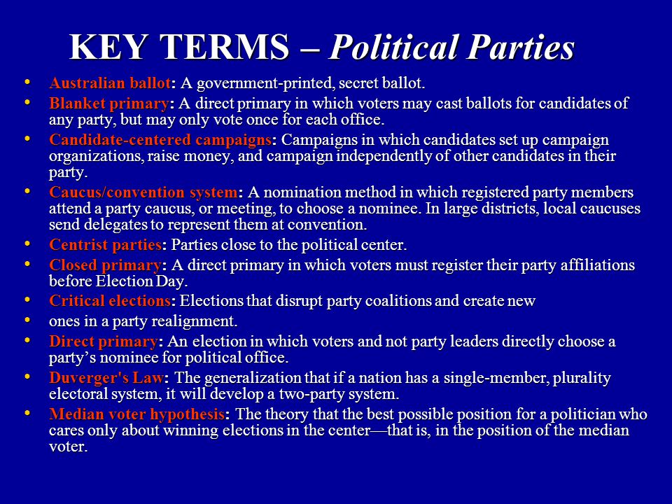 KEY TERMS – Political Parties