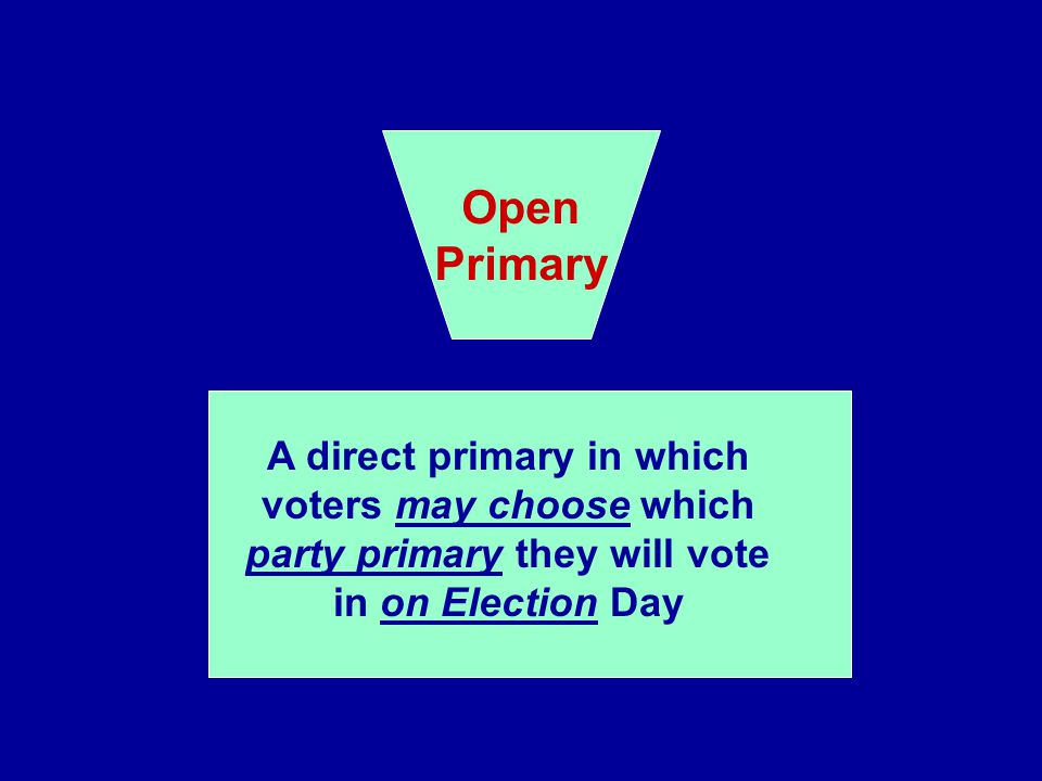 Open Primary. A direct primary in which voters may choose which party primary they will vote in on Election Day.