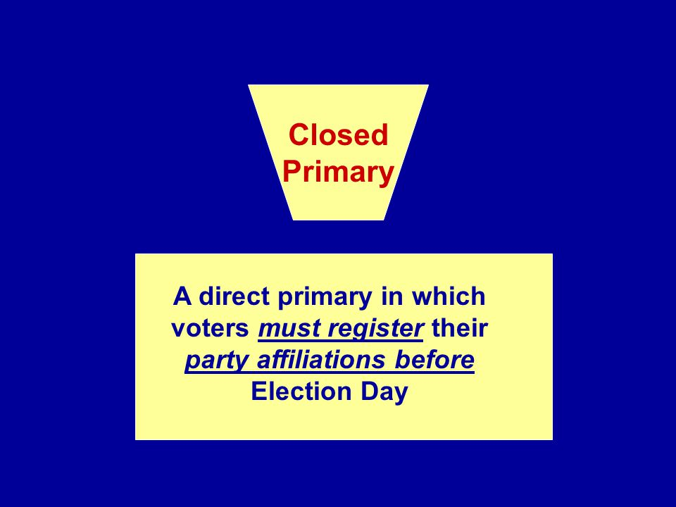 Closed Primary. A direct primary in which voters must register their party affiliations before Election Day.