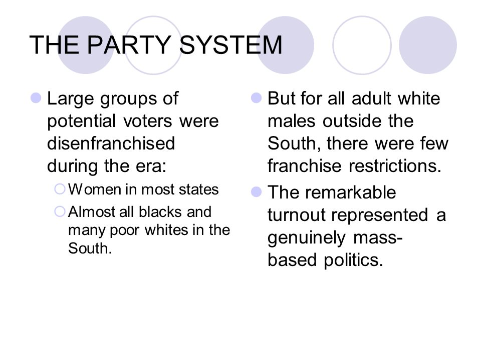 THE PARTY SYSTEM Large groups of potential voters were disenfranchised during the era: Women in most states.
