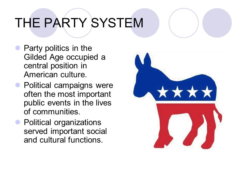 THE PARTY SYSTEM Party politics in the Gilded Age occupied a central position in American culture.