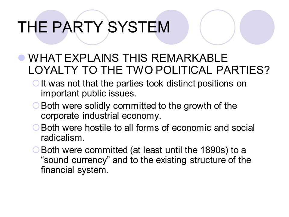 THE PARTY SYSTEM WHAT EXPLAINS THIS REMARKABLE LOYALTY TO THE TWO POLITICAL PARTIES