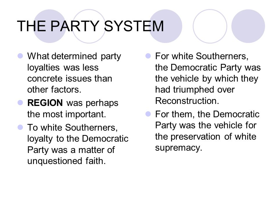 THE PARTY SYSTEM What determined party loyalties was less concrete issues than other factors. REGION was perhaps the most important.