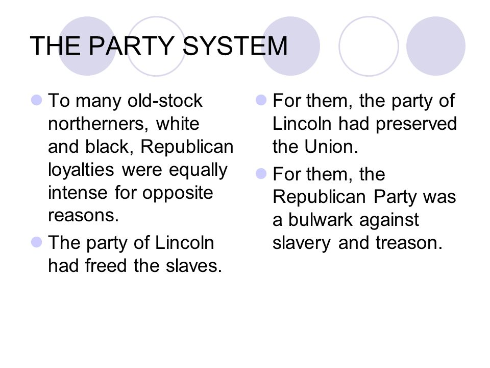THE PARTY SYSTEM To many old-stock northerners, white and black, Republican loyalties were equally intense for opposite reasons.