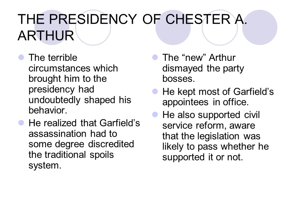 THE PRESIDENCY OF CHESTER A. ARTHUR