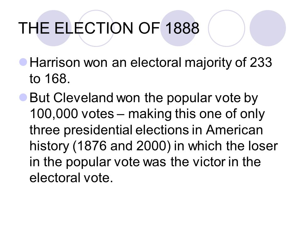 THE ELECTION OF 1888 Harrison won an electoral majority of 233 to 168.