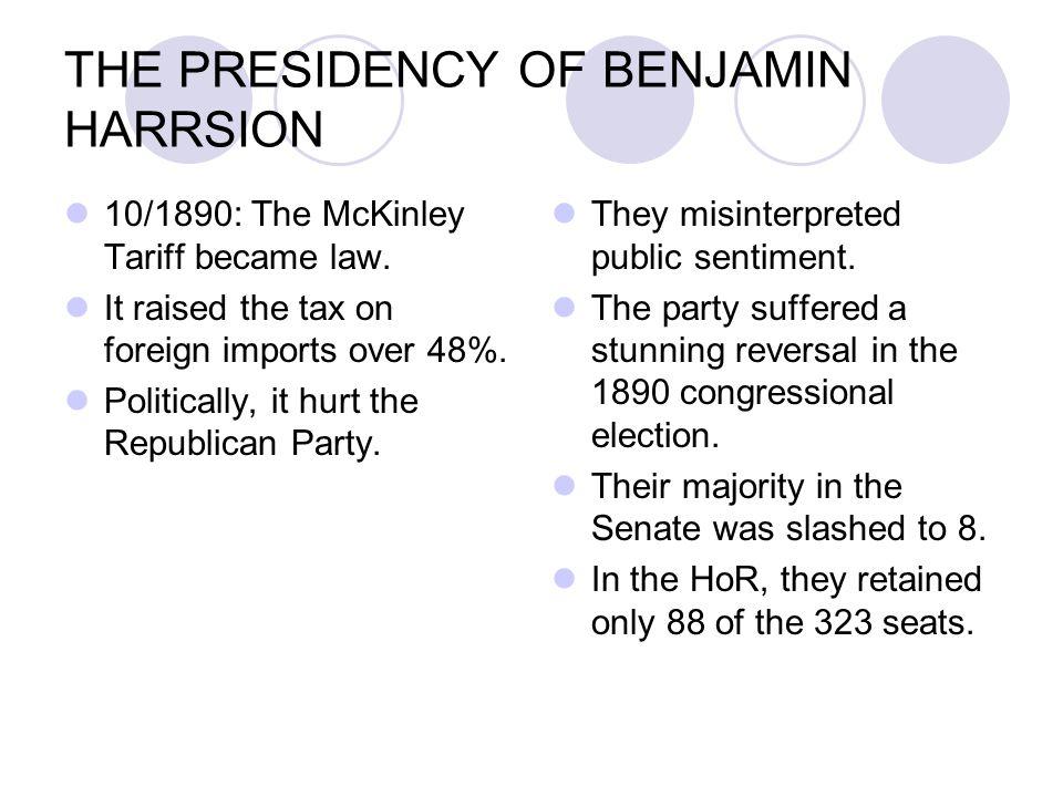 THE PRESIDENCY OF BENJAMIN HARRSION