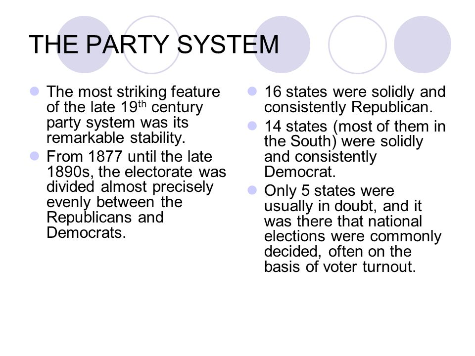 THE PARTY SYSTEM The most striking feature of the late 19th century party system was its remarkable stability.
