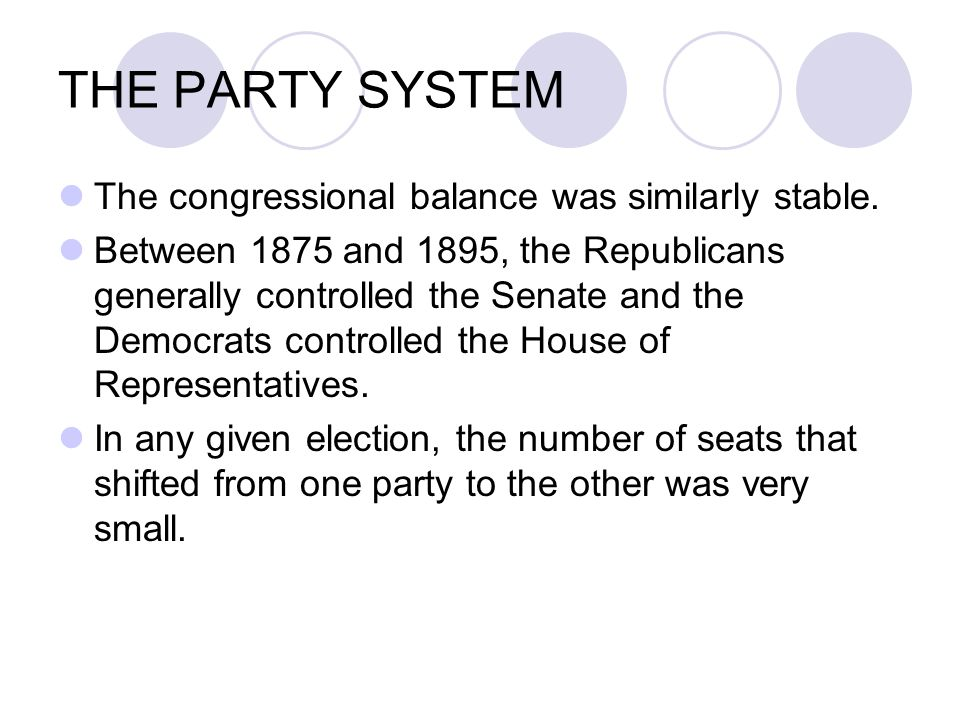 THE PARTY SYSTEM The congressional balance was similarly stable.