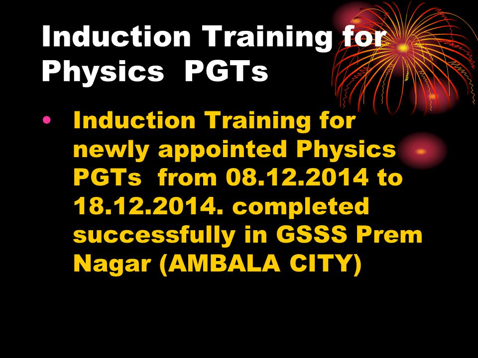 Induction Training for Physics PGTs