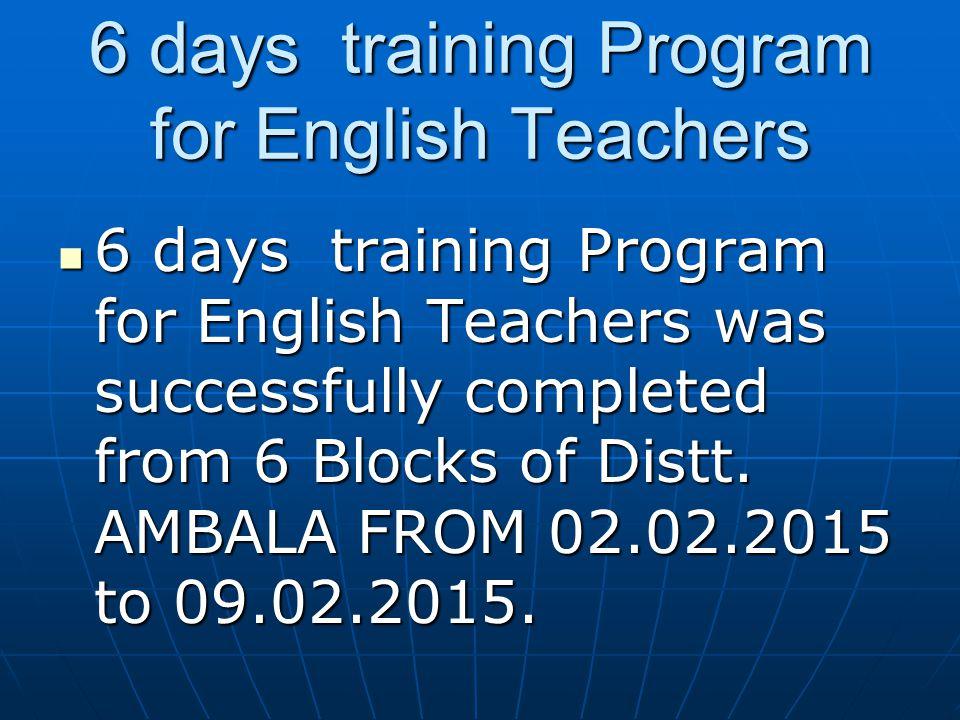 6 days training Program for English Teachers