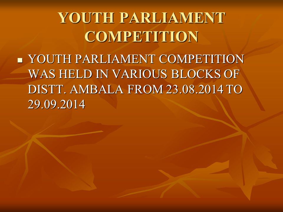 YOUTH PARLIAMENT COMPETITION