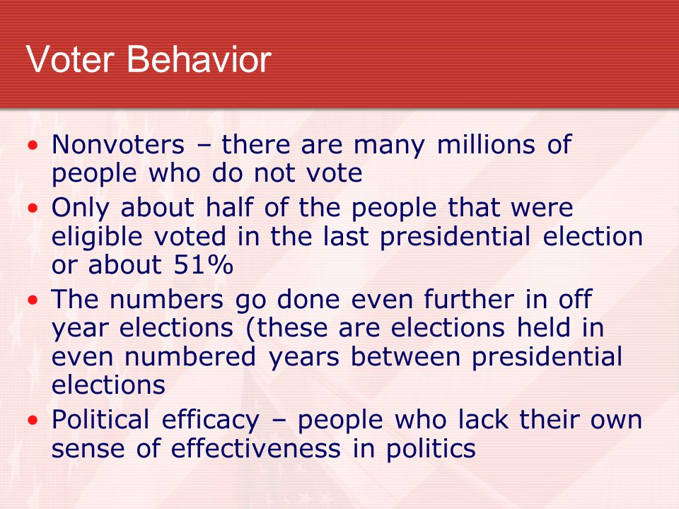 Voter Behavior Nonvoters – there are many millions of people who do not vote.