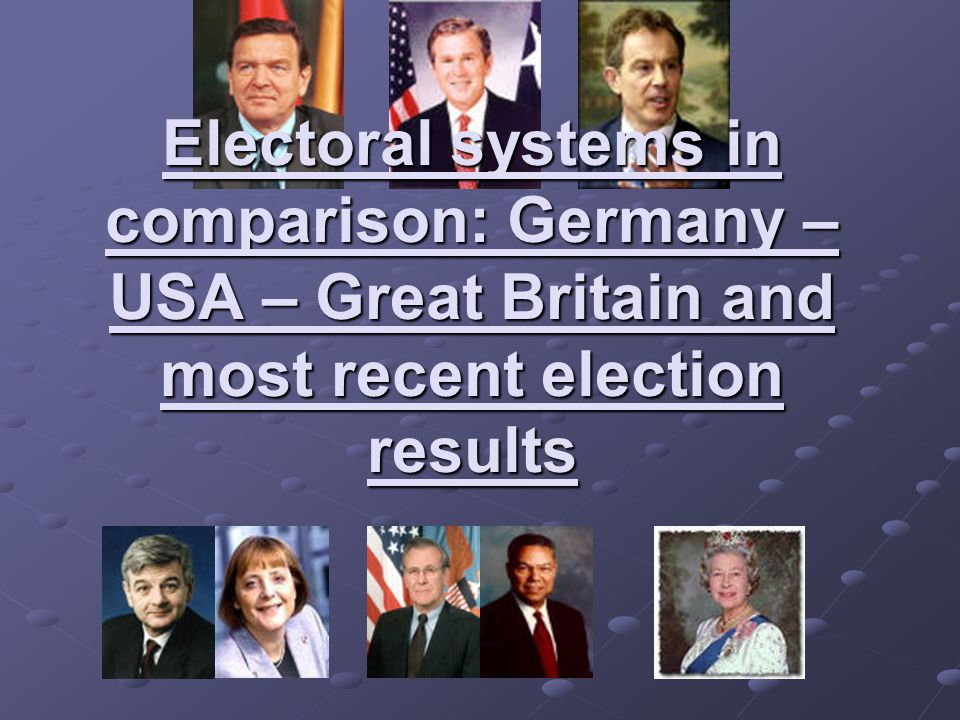 Electoral systems in comparison: Germany – USA – Great Britain and most recent election results