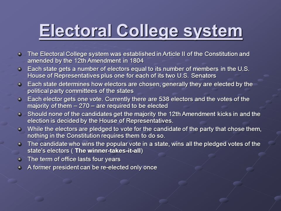 Electoral College system