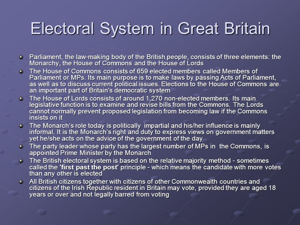Electoral System in Great Britain