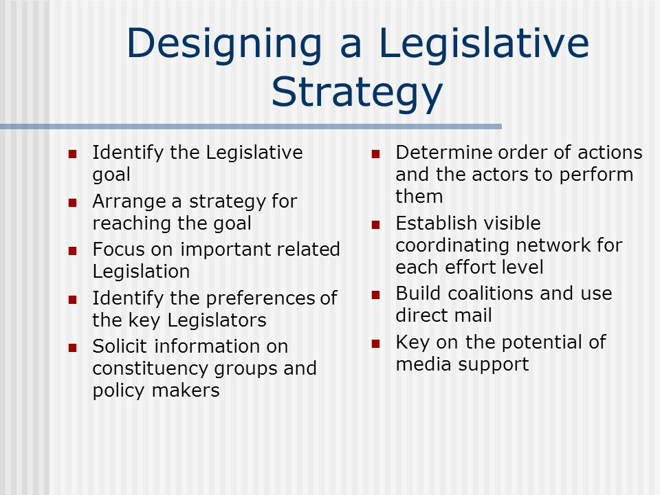 Designing a Legislative Strategy