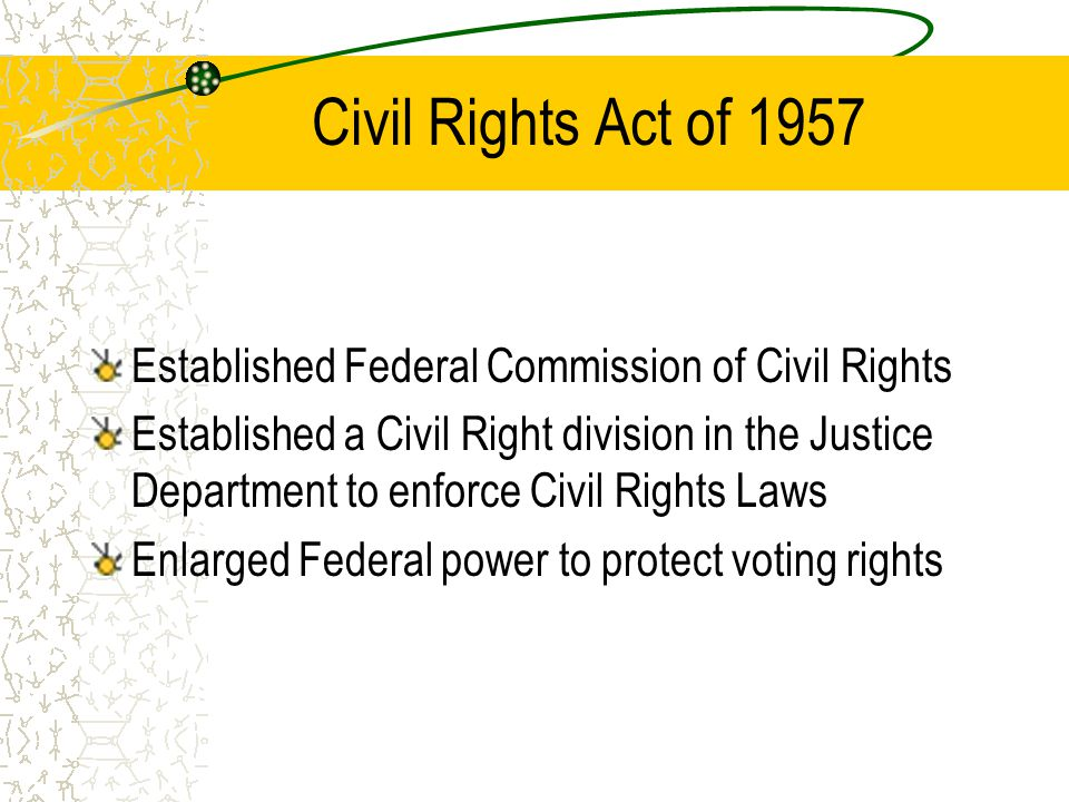 Civil Rights Act of 1957 Established Federal Commission of Civil Rights.