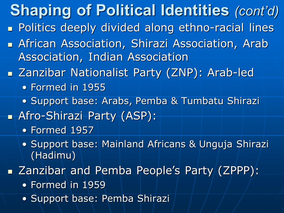 Shaping of Political Identities (cont'd)