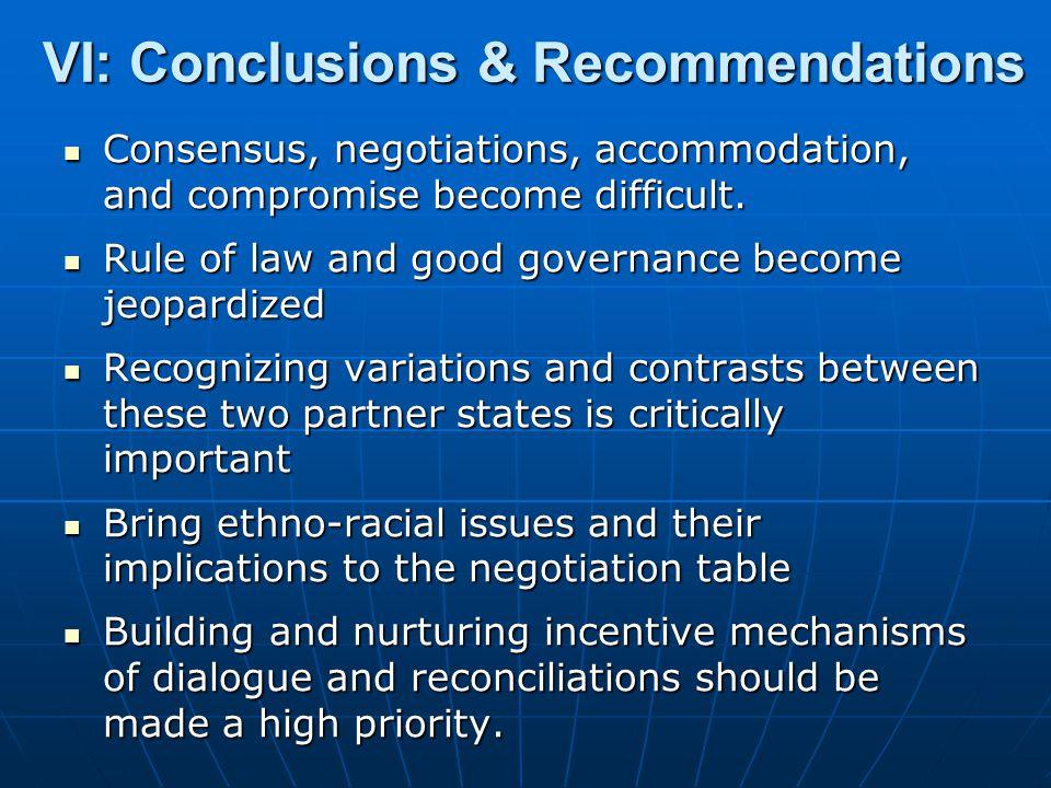 VI: Conclusions & Recommendations