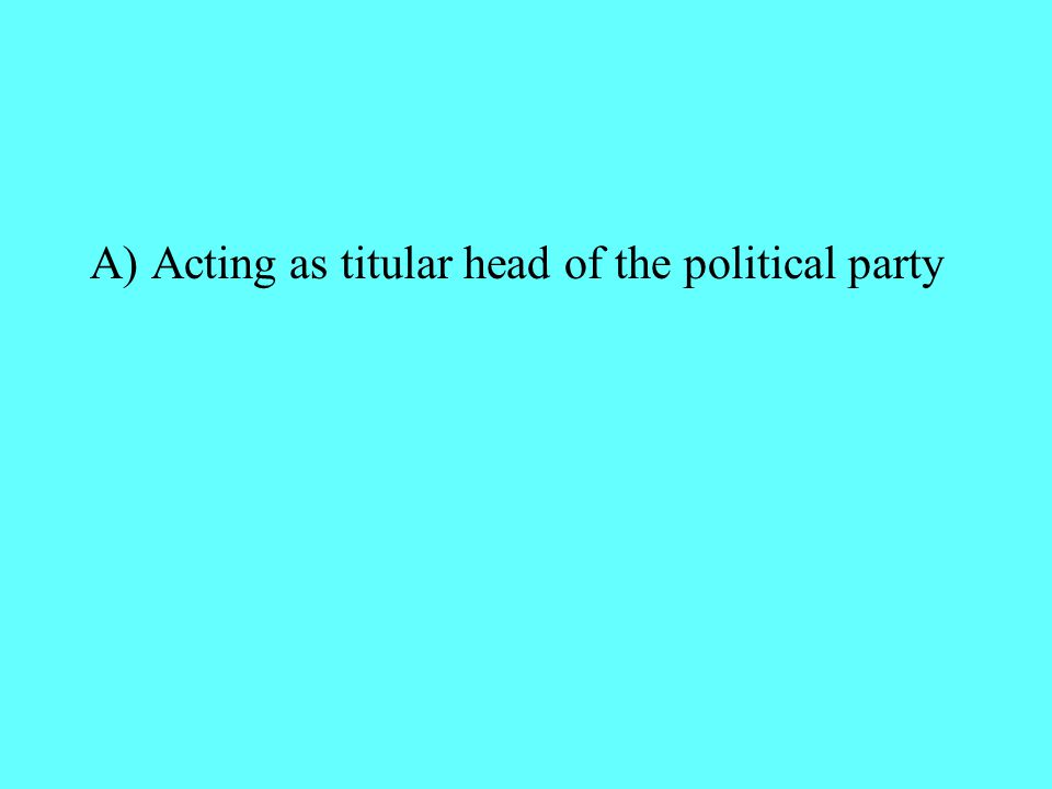 A) Acting as titular head of the political party