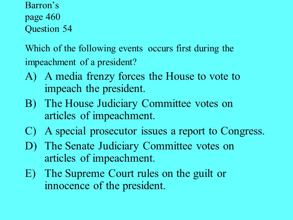 A media frenzy forces the House to vote to impeach the president.
