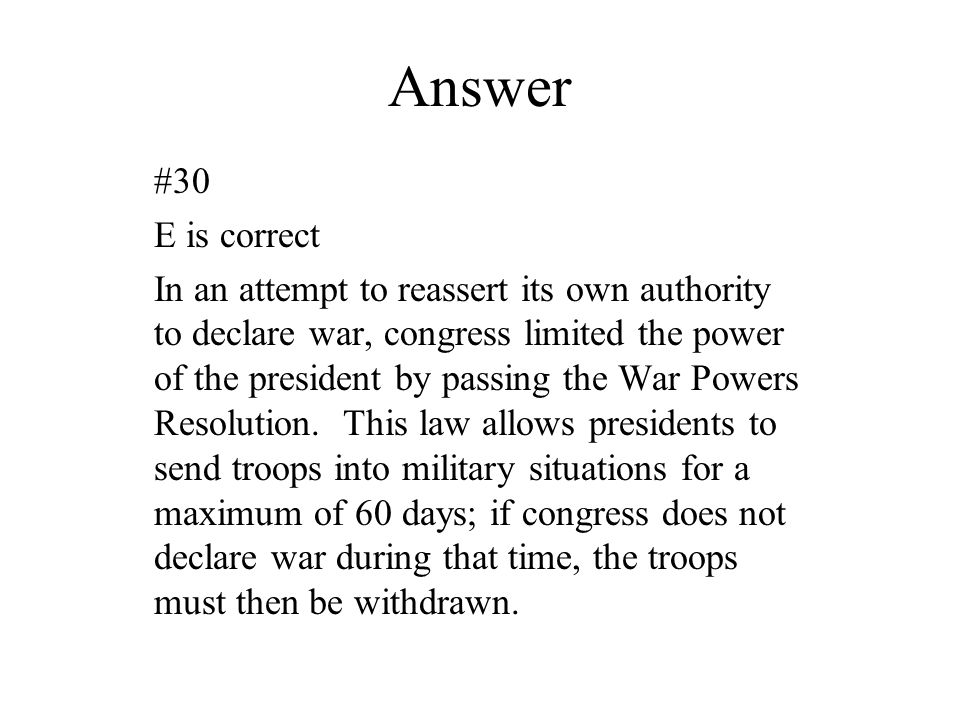 Answer #30. E is correct.