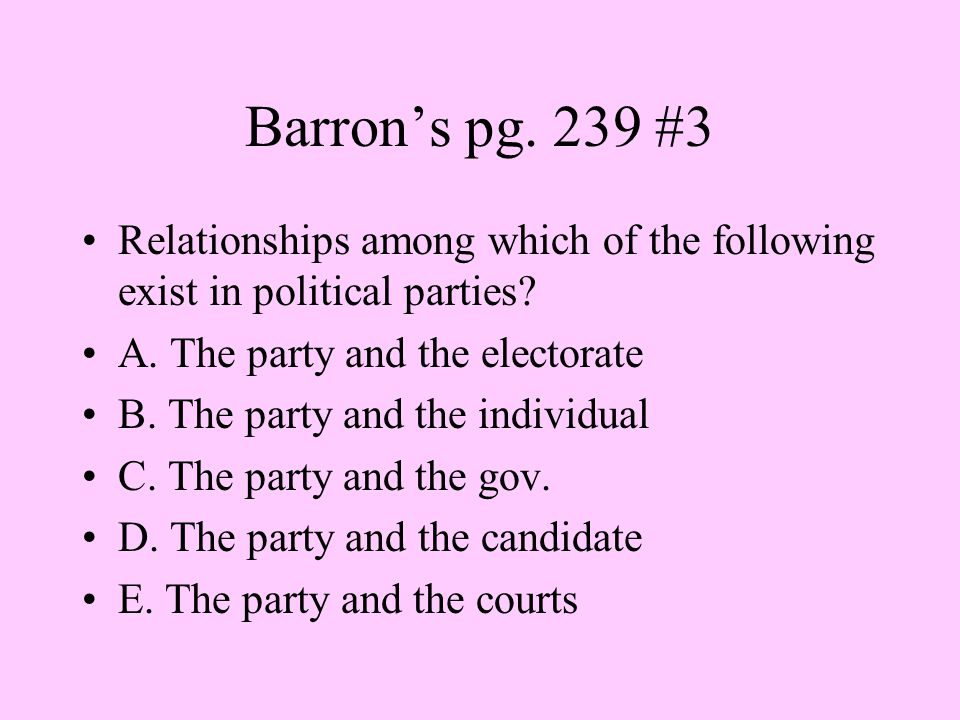 Barron's pg. 239 #3 Relationships among which of the following exist in political parties A. The party and the electorate.