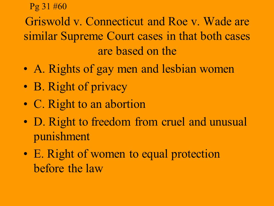 A. Rights of gay men and lesbian women B. Right of privacy
