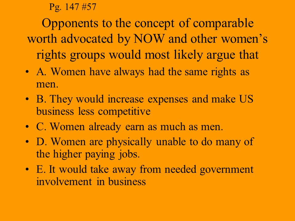 Pg. 147 #57 Opponents to the concept of comparable worth advocated by NOW and other women's rights groups would most likely argue that.