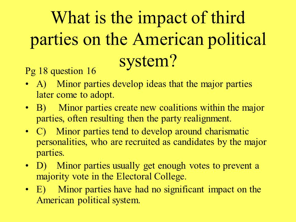 the impact of third parties in america The election was close, but there are several snags in the 'third-party votes did it' claim - not least the assumption that clinton was a clear second choice  the guardian - back to home.