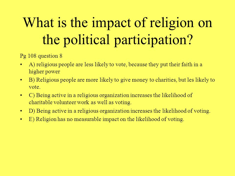 What is the impact of religion on the political participation