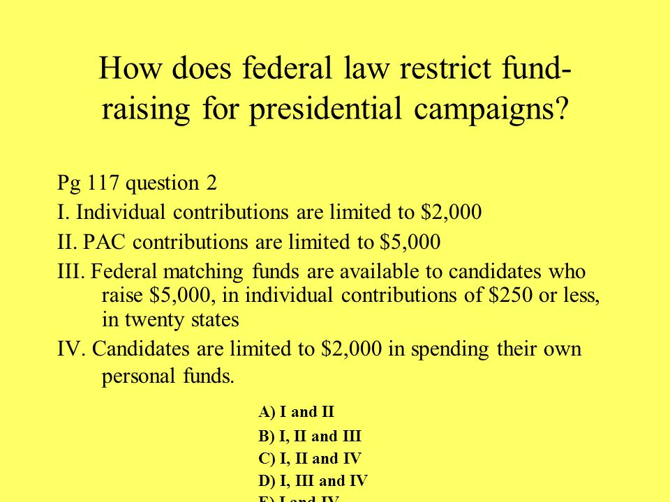 How does federal law restrict fund-raising for presidential campaigns